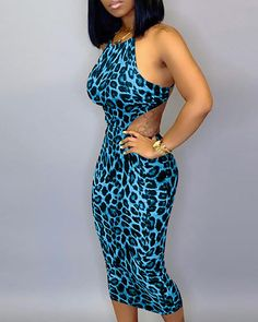 Halter Cut Out Waist Leopard Bodycon Dress Women's Online Shopping Offering Huge Discounts on Dresses, Lingerie , Jumpsuits , Swimwear, Tops and More. Trend Fashion, Latest Fashion, Style Fashion, Mini Vestidos, Womens Fashion Online, Women's Fashion Dresses, Pattern Fashion, Trendy Outfits, Girl Outfits