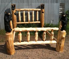 Chainsaw Carved Bear Bed, Queen size