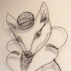 Wire SculptureFaux Fox Fur by wirenstitch on Etsy