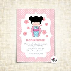 Japanese girl Birthday Invitation - Customized for you to print - 5x7 size