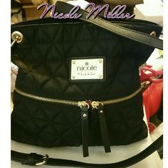 """Nicole Miller Cross Body Handbag Xtra long strap Very nice  LIKE NEW CONDITION  PUFFER QUILTED BLACK WITH GOLD HARDWARE This crossbody bag is perfect for hands-free access during a busy day or a night out on the town.  shoulder strap, 28"""" dropsynthetic/polyester1 exterior front open pocket and 2 zip pockets1 interior open pocket and 1 zip pocket8(H) x 9.25(W) x 1.5?(D) Nicole by Nicole Miller Bags Crossbody Bags"""