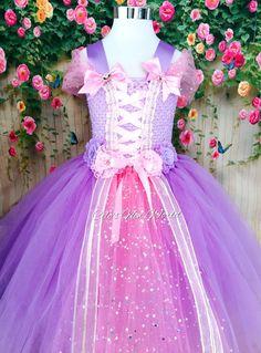 Rapunzel Costume Tutu Dress Girl Toddler Kids Birthday Party