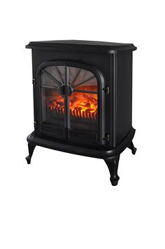 Wellington Large Free Standing Electric Fireplace Stove - 28 Inch Black Portable Electric Vintage Fireplace with Realistic Fire and Logs. Adjustable 800-1500W 400 Square Feet Space Heater Fan -- Find out more about the great product at the image link. (This is an affiliate link and I receive a commission for the sales)