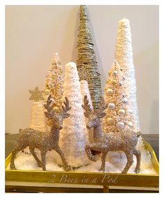 DIY Yarn Christmas Trees…a fast and easy project. All you need is harm, Elmers Glue and a styrofoam tree form.