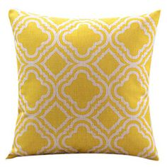 Yellow Diamond Cotton/Linen Decorative Pillow Cover – NOK kr. 98