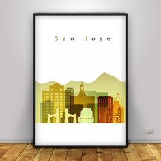 San Jose skyline, Poster, San Jose California Skyline Poster, Wall Art…