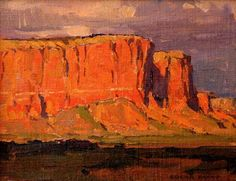In this painting by Edgar Payne you can see the really saturated orange in the cliffs and green grass.
