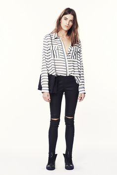 Anine Bing - Lookbook -http://www.aninebing.com/collections/pants/products/leather-leggings-with-slits