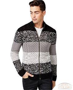 INC Men's Mock-Neck Colorblock-Stripe Cardigan Sweater, Deep Black, ...