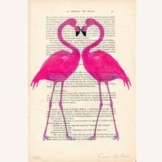 Flamingo heart- ORIGINAL ARTWORK Hand Painted Mixed Media on 1920 famous Parisien Magazine 'La Petit Illustration'. $10.00, via Etsy.    ...BTW,Please Check this out:  http://artcaffeine.imobileappsys.com