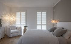 Looking inside the house full of Jasno shutters & blinds, Bedroom Curtains With Blinds, Apartment Curtains, Farmhouse Bedroom Decor, Room Decor Bedroom, Master Bedroom Design, Modern Bedroom, Bedroom Layouts, Bed Furniture, Luxurious Bedrooms