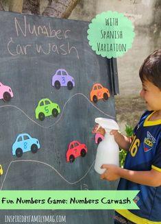 Fun Game to Learn the Numbers: Numbers Car Wash Numbers Carwash- a fun preschool math activity! Cars Preschool, Transportation Theme Preschool, Numbers Preschool, Learning Numbers, Preschool Learning, In Kindergarten, Outdoor Preschool Activities, Montessori Preschool, Montessori Elementary