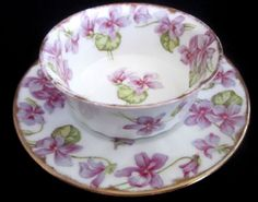 LIMOGES ramekin and saucer with violets pretty much covers it all! Teapots And Cups, Teacups, Sweet Violets, China Tea Cups, Tea Service, Chocolate Pots, Coffee Set, My Tea, Cake Plates