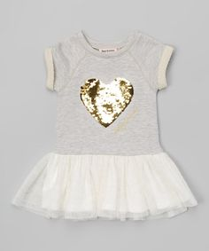 Another great find on #zulily! Gray & Gold Heart Tulle Skirted Top - Infant, Toddler & Girls #zulilyfinds