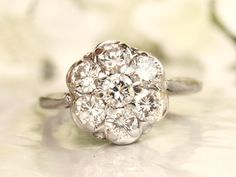 Vintage Engagement Ring 0.77ctw Diamond Cluster Ring 14K White Gold Vintage Daisy Diamond Wedding Ring Size 6.5!