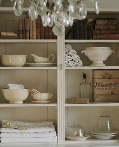 Beautiful shelves and chandelier