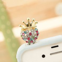 Price:$5.99 Color: As Picture Material: As Picture Stylish Brilliant Crown Colorful Rhinestone Earphone Jack Dustproof Plug