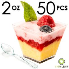 Amazon.com | Mini Dessert Cups, Appetizer Bowls with Spoons, FREE Recipe e-Book [Clear Plastic, 2 oz, Square Short, 50 Count] Small Catering Supplies, Disposable Parfait Tasting Shooters Tumbler Glasses: Buffet Plates