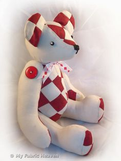 "14"" Patchwork Teddy Bear Soft Toy Sewing PATTERN & Easy To Follow Instructions £5.50"