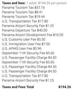 """""""Panama esta caro"""" """"Crisis en turismo""""  Con este poco de impuestos no nos ayuda nadie! US$65.00 en """"Tourism Tax""""???? Alguien que me explique!!! Divulguen esta vaina para que nos expliquen por que se cobran tantos impuestos para venir a Panama!!! Súmale los 52.50 de impuestos aeroportuarios y te daras cuenta que US$117.50 son impuestos a Panama!!! Esto AUYENTA visitantes!!!"""