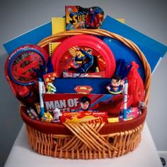 Valentines day gift basket valentines spiderman and birthday fun sale now 40 ebay superman school fun treats christmas gift basket superman negle Images