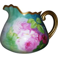 """Very Rare Limoges Cider Pitcher; Ruffled Rim; Gold Handle; Reflecting Roses in Shades of Pink; Signed """"A. Bronssillon"""""""