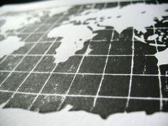 LINOCUT PRINT - world map BLACK 8x10 letterpress poster. $22.00, via Etsy.