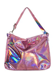 accessories, bags, purses, pink, rainbow, holographic