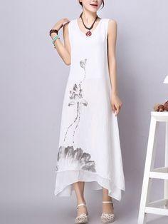 Asymmetric Hem Printed Round Neck Maxi Dress