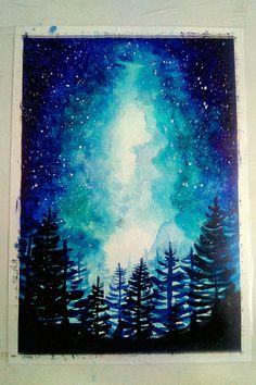 Night Sky Painting, Guache, Night Skies, Watercolor Art, Canvas Art, Arts And Crafts, Doodles, Room Decor, The Incredibles