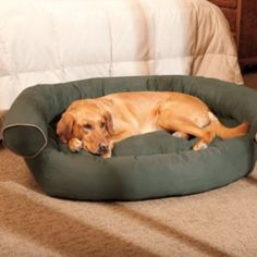 Doctors Foster & Smith Chesterfield Bolster Oval Pet Bed - 35'' x 29''