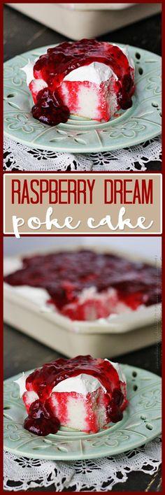 Raspberry Dream Poke Cake. #Valentines_Day #summer #desserts