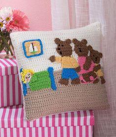 Goldilocks and the Three Bears Pillow. ☀CQ #crochet #applique  http://pinterest.com/CoronaQueen/crochet-applique-corona