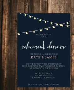 This rehearsal dinner invitation features a sweet light garland illustration. It is perfect for the modern couple. This listing is for 10