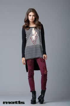 Add a stylish twist on a casual outfit with an alternative long stripped tunic!