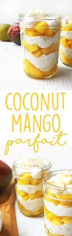 Coconut Mango Parfait - a healthy vegan breakfast or dessert recipe, bursting with tropical flavors.