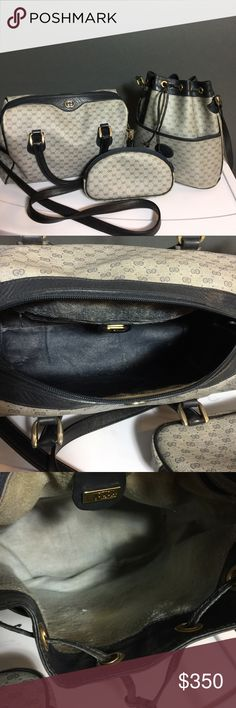 Authentic Vintage gucci trio One gucci boston bag one gucci bucket bag one makeup bag all authentic and vintage. Bought from another posher and was Authenticated by poshmark before mailed to me. Both bags are too small for me. Boston is size of speedy 25 and bucket is size of MG mini bucket. Good condition still has much lofe left. Perfect for the vintage lover. Classic styles. Gucci Bags Crossbody Bags