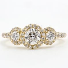 Three Stone Halo for Round Diamonds