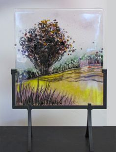 Aubergine and Gold: Fused Glass freestanding panel by Alice Benvie Gebhart