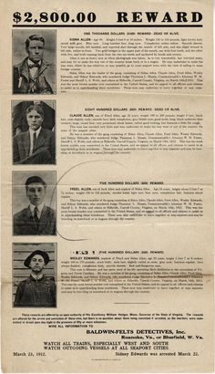 Wanted Poster for Sidna, Claude and Friel Allen and Wesley Edwards, dated Monday Specials, Hatfields And Mccoys, Carroll County, Family Research, Good Spirits, Light Brown Hair, Time Capsule, Photo Location, Mug Shots