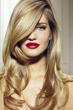 Coiffure vert в 2019 г. blowout hair, golden blonde hair и long hair styles Holiday Hairstyles, Hairstyles For Round Faces, Cool Hairstyles, Blonde Hairstyles, Layered Hairstyles, Summer Hairstyles, Blowout Hairstyles, Glamorous Hairstyles, Woman Hairstyles