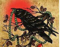 Znalezione obrazy dla zapytania old school witch tattoo crow moon