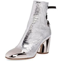 Proenza Schouler Tumbled Metallic Leather Lace-Back Boot as seen on Rosie Huntington-Whiteley