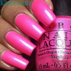 Blue Velvet Lacquer: OPI Neon Collection for Summer 2014: Swatches, Review, & Nail Art: Hotter Than You Pink