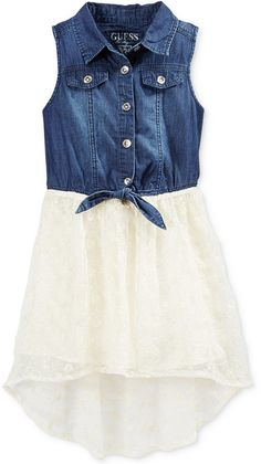 GUESS Girls' Denim-to-Lace Tie-Front Dress on shopstyle.com