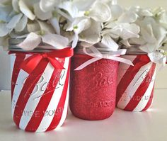 Christmas Decor Holiday Decor Christmas Painted Mason by RMbasix
