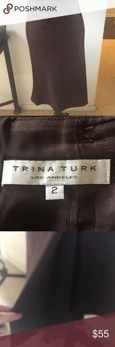 Trina Turk Chocolate Brown Skirt. size 2 Trina Turk Chocolate Brown Pencil Skirt with a flare. Size 2 Trina Turk Skirts