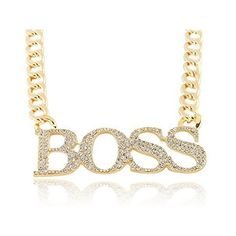 Amazon.com: Goldtone with Clear Iced Out Large Boss Pendant with a 16... (€6,95) ❤ liked on Polyvore featuring jewelry, clear pendant, chain jewelry, gold tone jewelry, clear crystal jewelry and clear jewelry