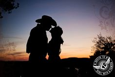 Silhouette against the sunset Austin engagement photo