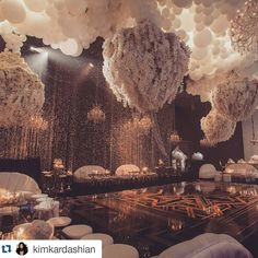 Balloons and orchids with a wall of crystals... Yes please! Only creative…
